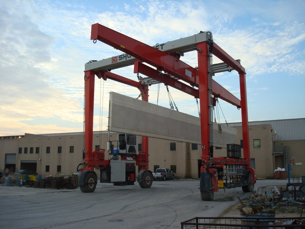 Transporting Concrete with Mobile Rubber Tired Gantry Crane