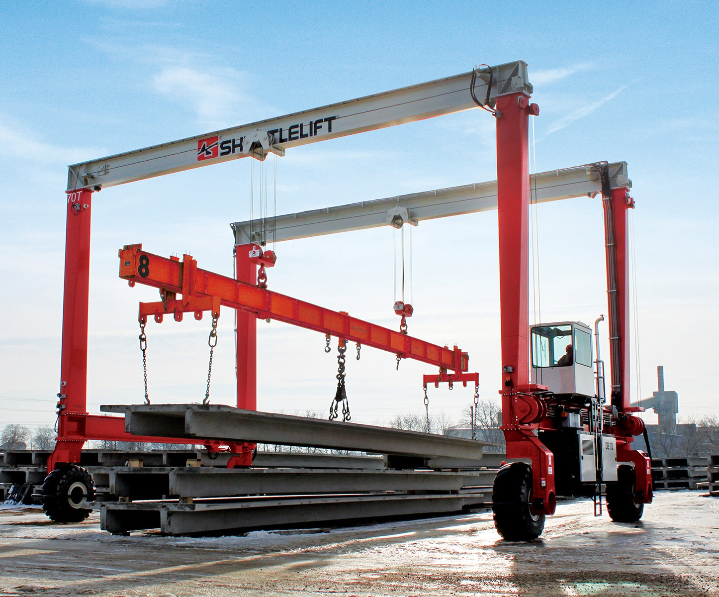 DB Series rubber-tired gantry crane in concrete application