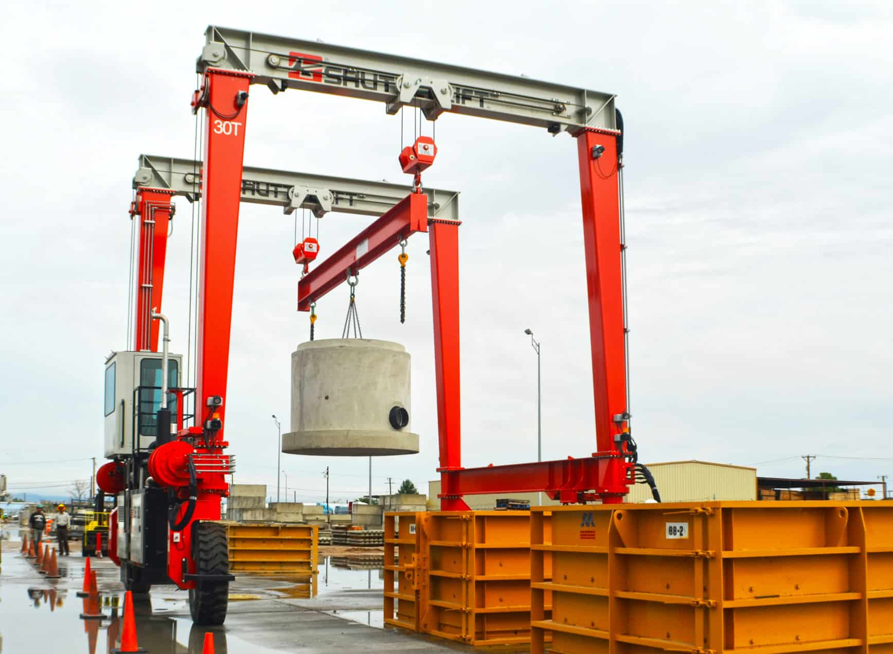 Shuttlelift DB Series RTG crane working in precast concrete application