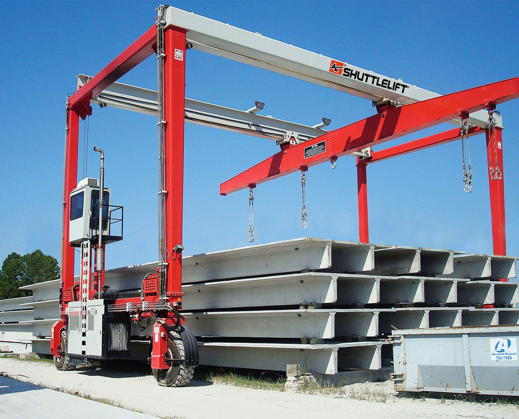 Shuttlelift ISL overhead mobile gantry crane picking double tees