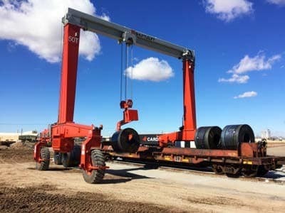 rubber tired gantry crane moving steel coils
